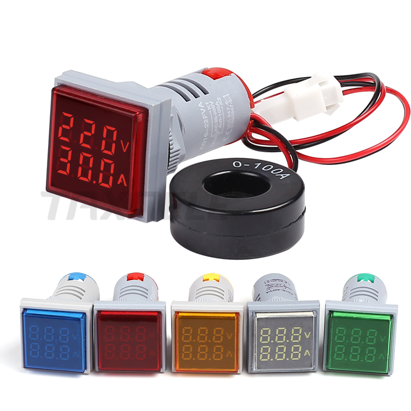 22mm LED Dual Display Voltage Current Meter