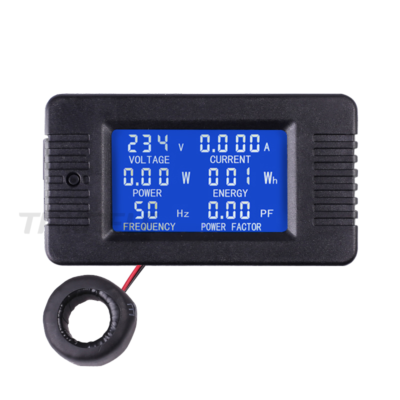 Digital LCDAmp Volt Watt Kwh Power Factor Meter